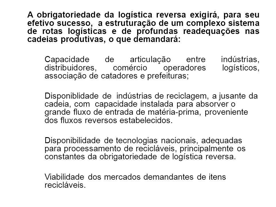 A obrigatoriedade da logística reversa exigirá, para seu efetivo sucesso, a estruturação de um complexo sistema de rotas logísticas e de profundas rea