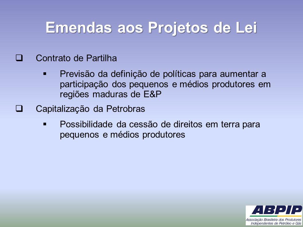 Emendas aos Projetos de Lei Contrato de Partilha Previsão da definição de políticas para aumentar a participação dos pequenos e médios produtores em r