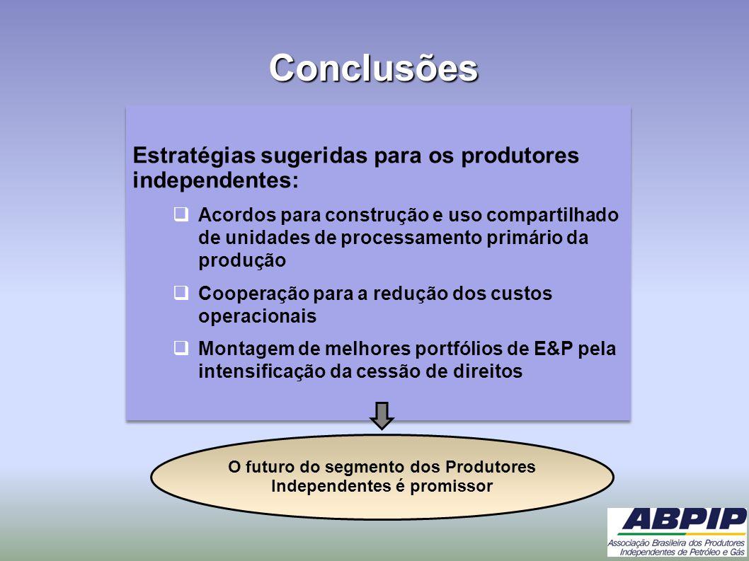 Conclusões Estratégias sugeridas para os produtores independentes: Acordos para construção e uso compartilhado de unidades de processamento primário d