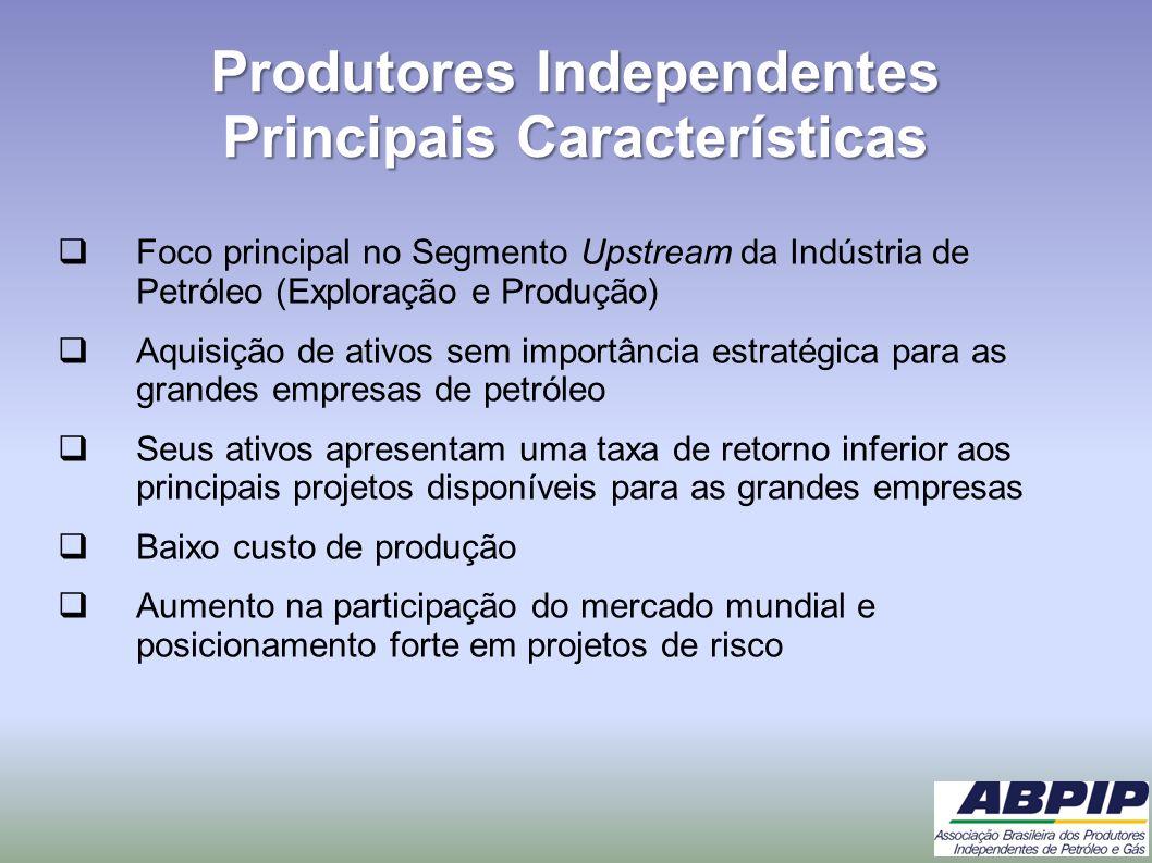 Produtores Independentes Principais Características Foco principal no Segmento Upstream da Indústria de Petróleo (Exploração e Produção) Aquisição de