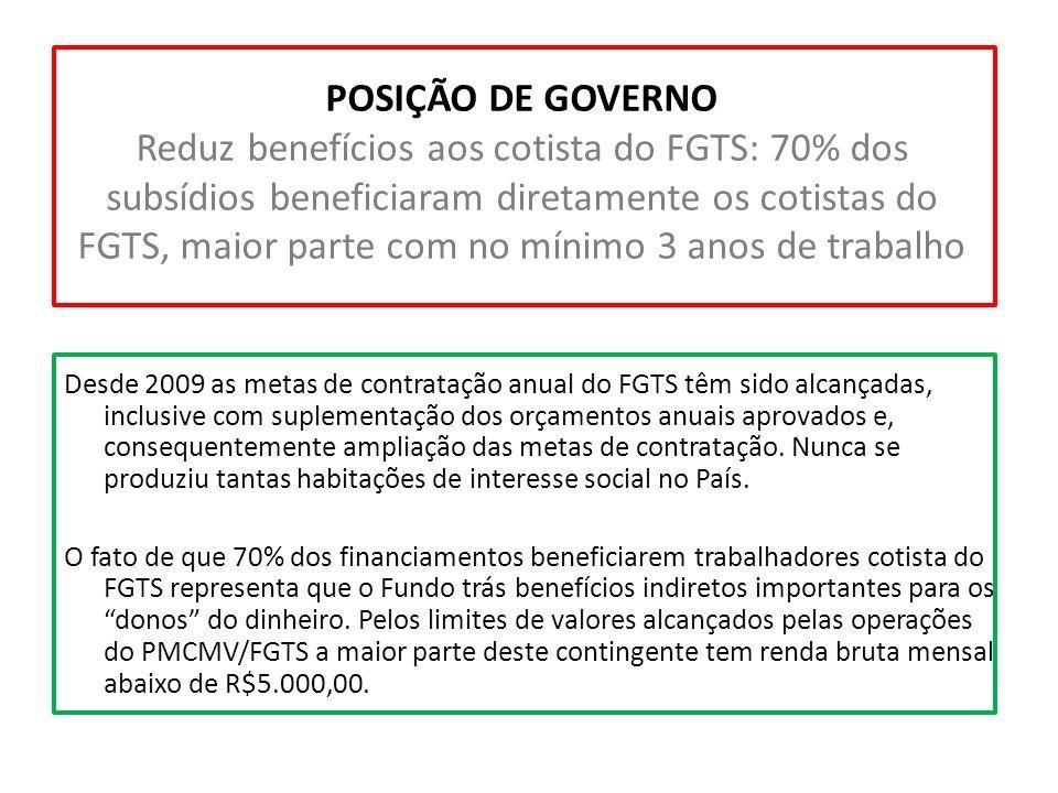 POSIÇÃO DE GOVERNO Reduz benefícios aos cotista do FGTS: 70% dos subsídios beneficiaram diretamente os cotistas do FGTS, maior parte com no mínimo 3 a