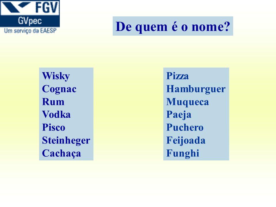 Wisky Cognac Rum Vodka Pisco Steinheger Cachaça Pizza Hamburguer Muqueca Paeja Puchero Feijoada Funghi De quem é o nome?