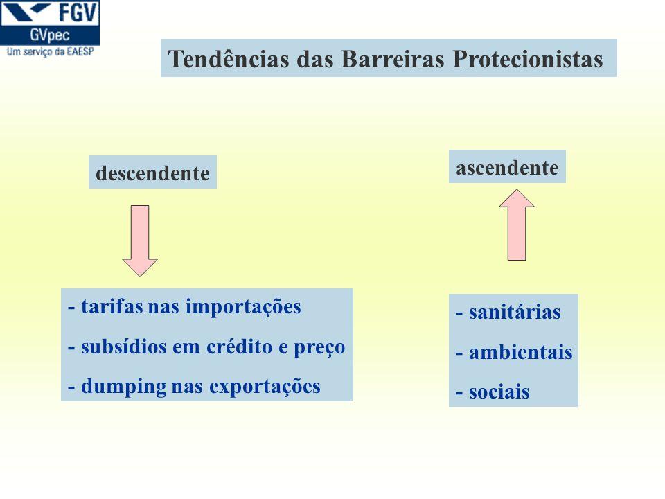 - tarifas nas importações - subsídios em crédito e preço - dumping nas exportações descendente ascendente - sanitárias - ambientais - sociais Tendênci