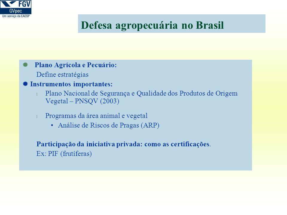 Defesa agropecuária no Brasil Plano Agrícola e Pecuário: Define estratégias Instrumentos importantes: l Plano Nacional de Segurança e Qualidade dos Pr