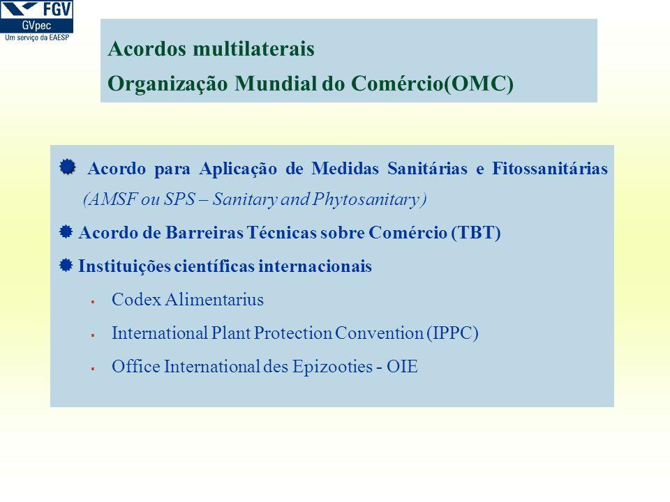 Acordos multilaterais Organização Mundial do Comércio(OMC) Acordo para Aplicação de Medidas Sanitárias e Fitossanitárias (AMSF ou SPS – Sanitary and P