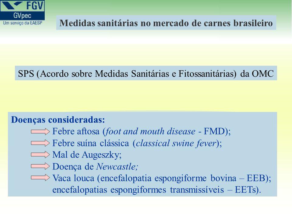 Doenças consideradas: Febre aftosa (foot and mouth disease - FMD); Febre suína clássica (classical swine fever); Mal de Augeszky; Doença de Newcastle;