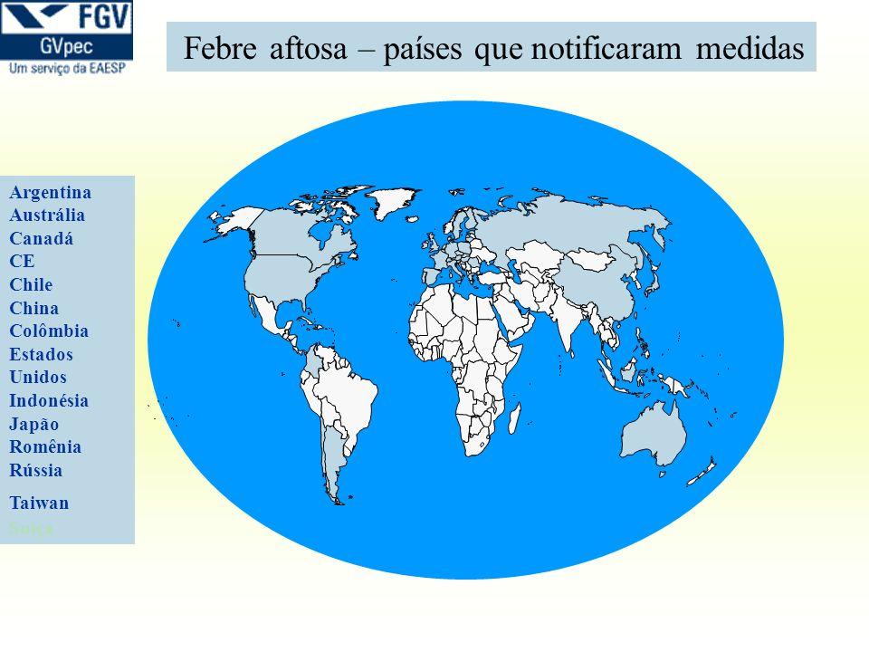 Argentina Austrália Canadá CE Chile China Colômbia Estados Unidos Indonésia Japão Romênia Rússia Taiwan Suiça Febre aftosa – países que notificaram me