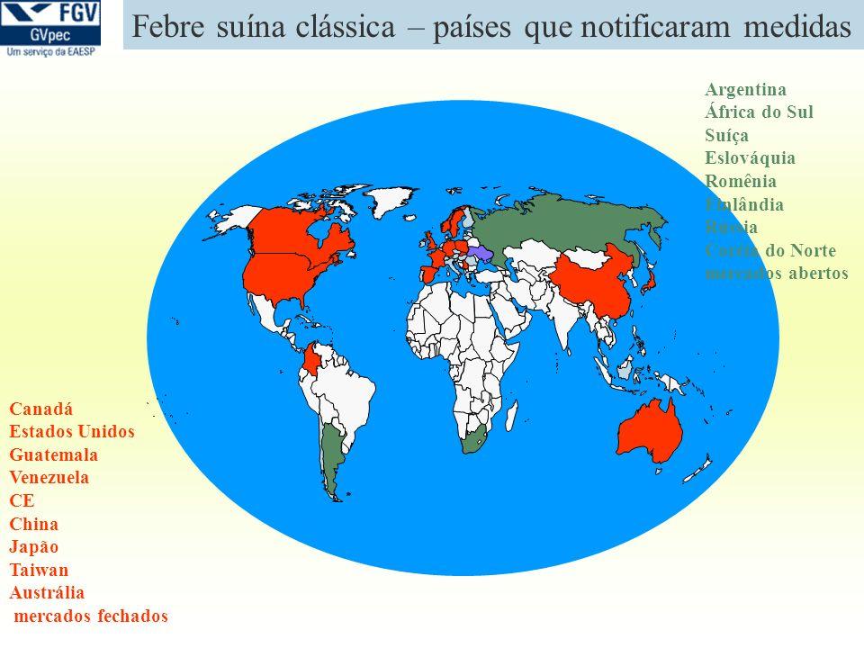 Febre suína clássica – países que notificaram medidas Argentina África do Sul Suíça Eslováquia Romênia Finlândia Rússia Coréia do Norte mercados abert