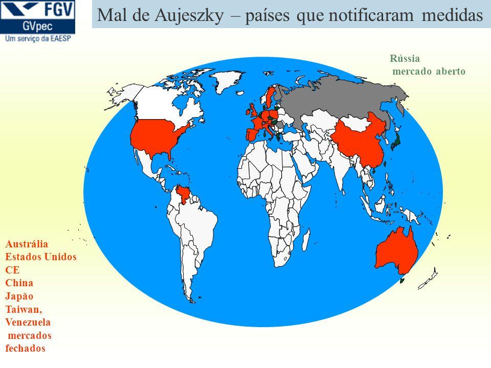 Mal de Aujeszky – países que notificaram medidas Rússia mercado aberto Austrália Estados Unidos CE China Japão Taiwan, Venezuela mercados fechados