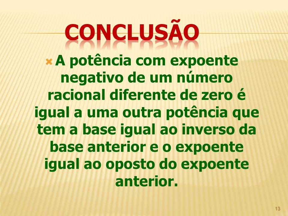 A potência com expoente negativo de um número racional diferente de zero é igual a uma outra potência que tem a base igual ao inverso da base anterior
