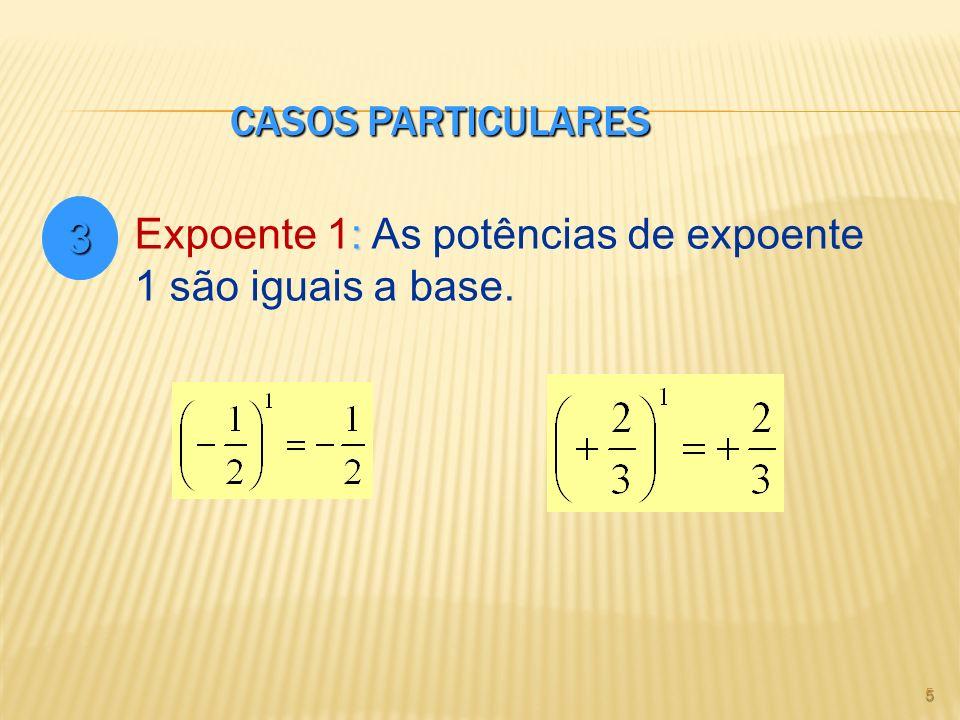 CASOS PARTICULARES 5 3 : Expoente 1: As potências de expoente 1 são iguais a base.