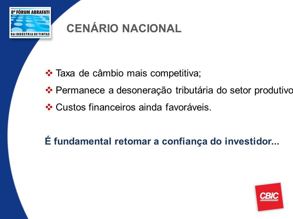 CENÁRIO NACIONAL Taxa de câmbio mais competitiva; Permanece a desoneração tributária do setor produtivo; Custos financeiros ainda favoráveis. É fundam
