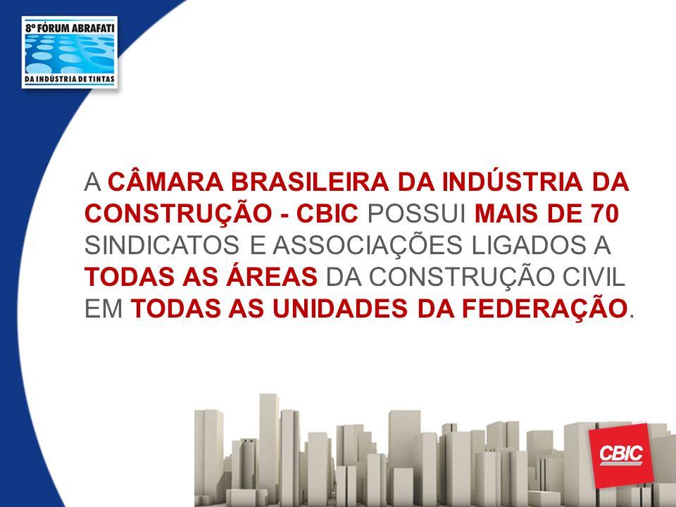 A CÂMARA BRASILEIRA DA INDÚSTRIA DA CONSTRUÇÃO - CBIC POSSUI MAIS DE 70 SINDICATOS E ASSOCIAÇÕES LIGADOS A TODAS AS ÁREAS DA CONSTRUÇÃO CIVIL EM TODAS
