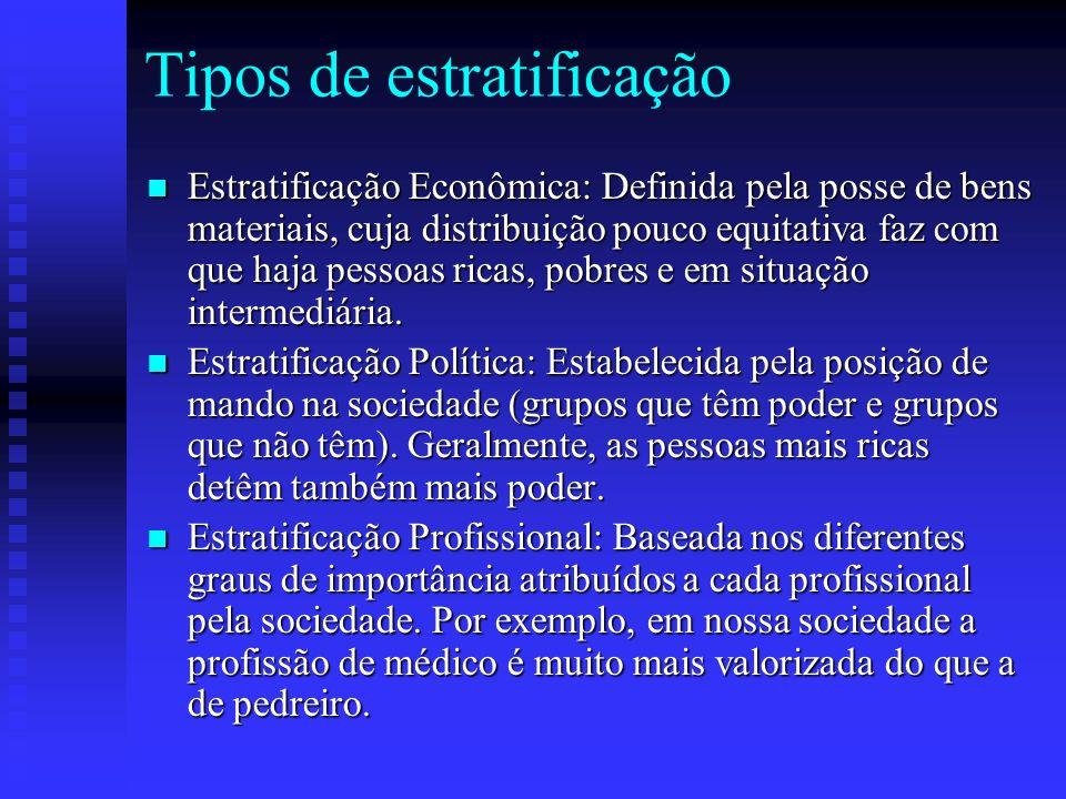 Tipos de estratificação Estratificação Econômica: Definida pela posse de bens materiais, cuja distribuição pouco equitativa faz com que haja pessoas r