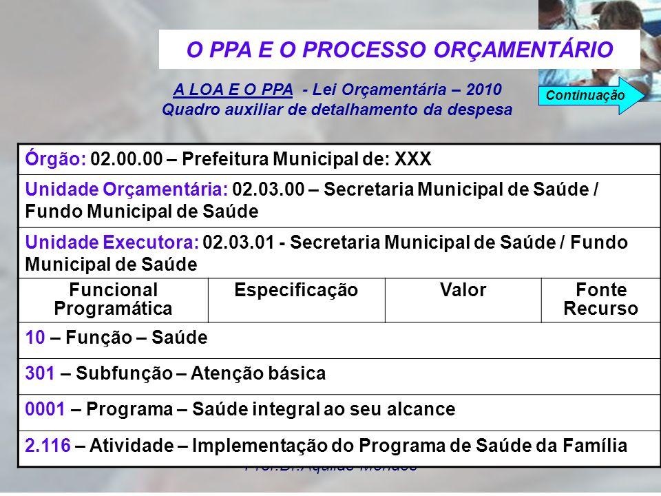 Prof.Dr.Áquilas Mendes A Lei Orçamentária Anual é o instrumento de planejamento que estima as receitas e fixa as despesas para um exercício financeiro