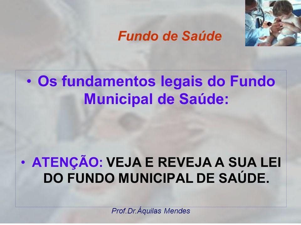 Prof.Dr.Áquilas Mendes PROCESSO ORÇAMENTÁRIO, PLANEJAMENTO E O FMS O orçamento do Fundo de Saúde deve respeitar as políticas e os programas de trabalh