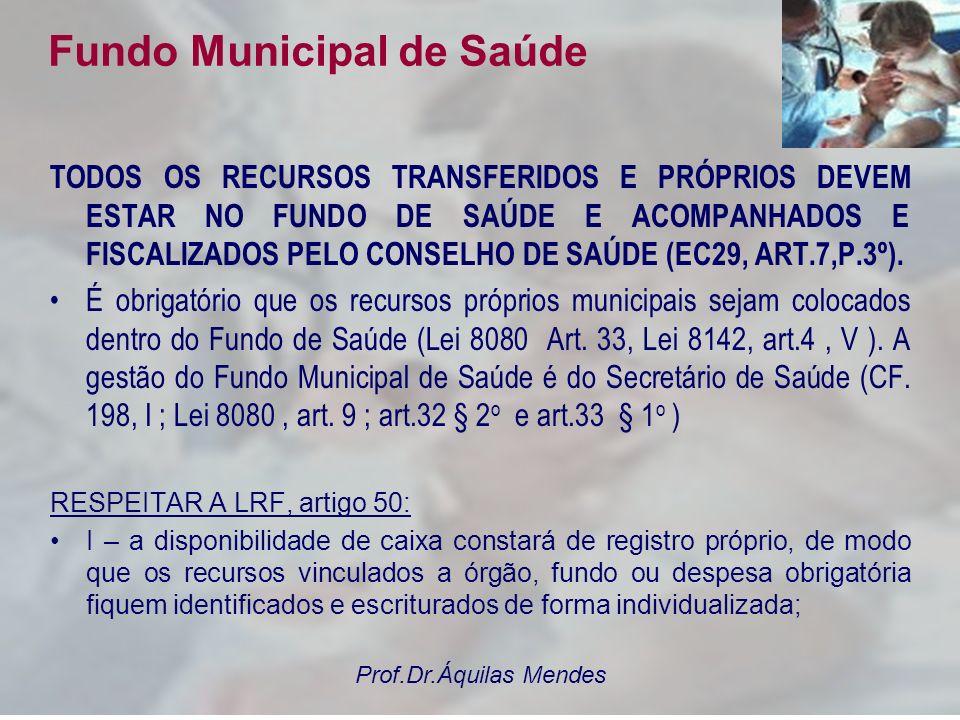 Prof.Dr.Áquilas Mendes Fundo de Saúde Os fundamentos legais do Fundo Municipal de Saúde: ATENÇÃO: VEJA E REVEJA A SUA LEI DO FUNDO MUNICIPAL DE SAÚDE.