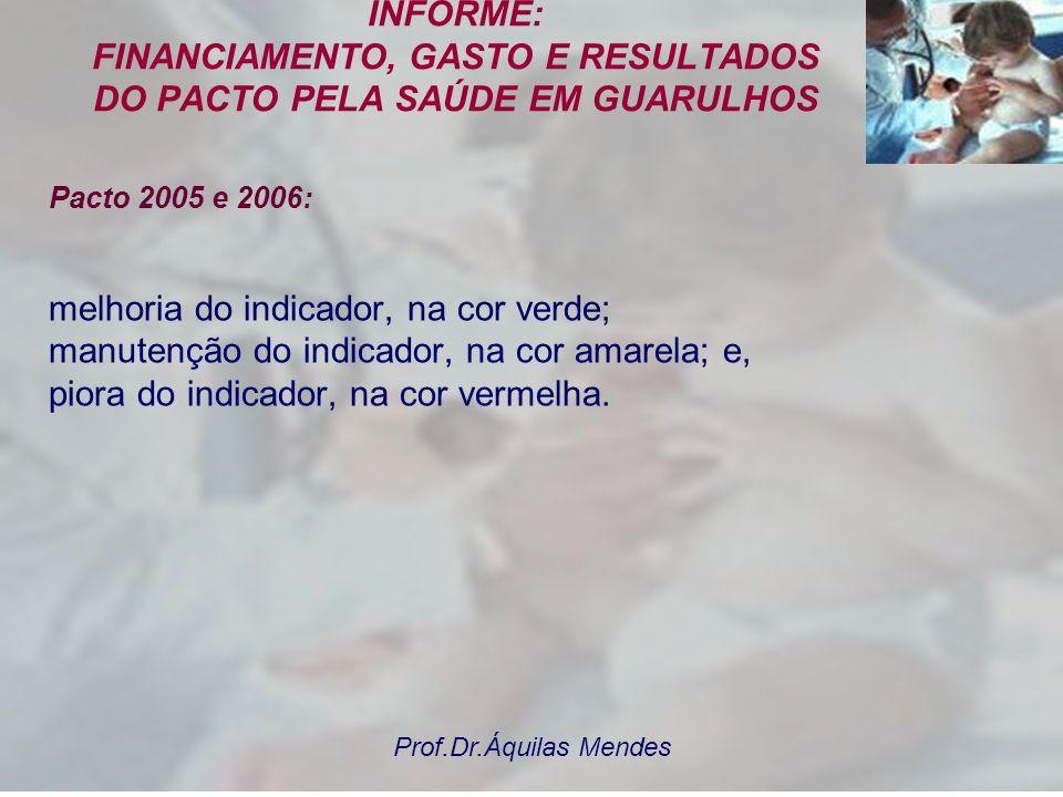 Prof.Dr.Áquilas Mendes INFORME: FINANCIAMENTO, GASTO E RESULTADOS DO PACTO PELA SAÚDE EM GUARULHOS Pacto 2005 e 2006: Tal organização do sistema de sa