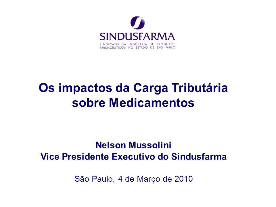 São Paulo, 4 de Março de 2010 Os impactos da Carga Tributária sobre Medicamentos Nelson Mussolini Vice Presidente Executivo do Sindusfarma