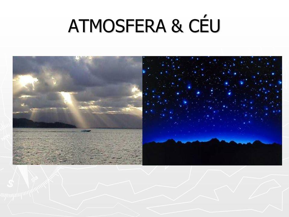 ATMOSFERA: CARACTERÍSTICAS ESPESSURA: 600 QUILÔMETROS ESPESSURA: 600 QUILÔMETROS COMPOSIÇÃO:(nitrogênio, oxigênio, outros) COMPOSIÇÃO:(nitrogênio, oxigênio, outros) TROPOSFERA TROPOSFERA ESTRATOSFERA ESTRATOSFERA MESOSFERA MESOSFERA IONOSFERA (termosfera) IONOSFERA (termosfera) EXOSFERA EXOSFERA