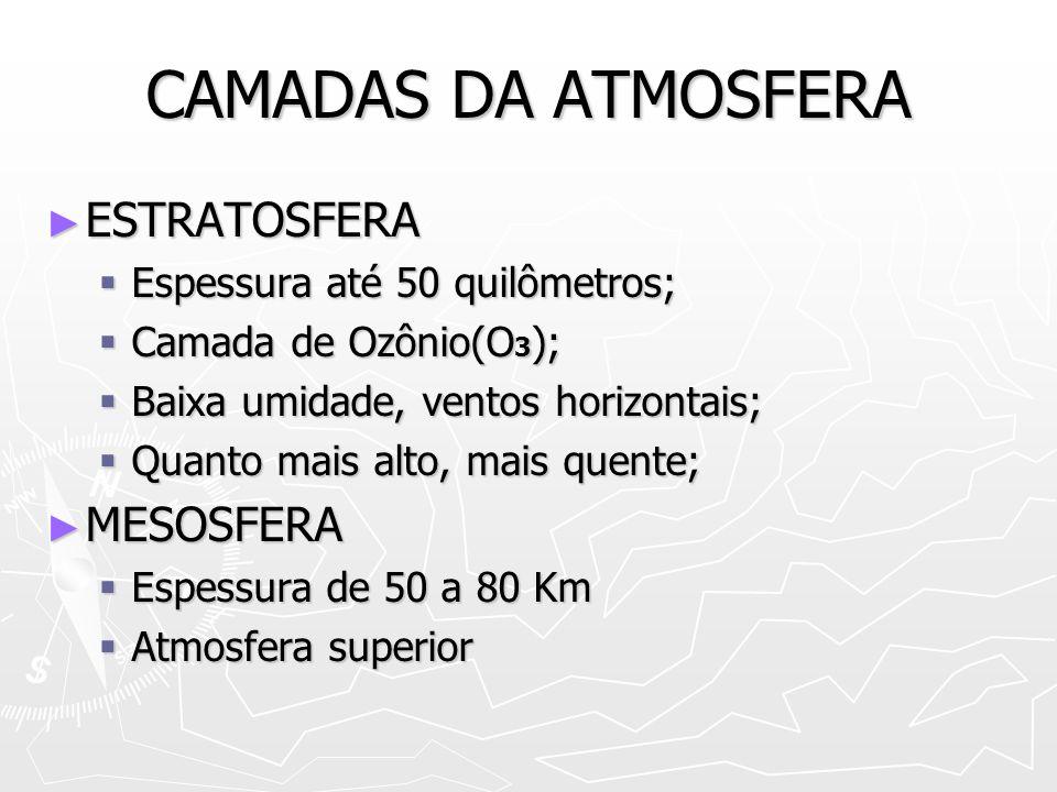 CAMADAS DA ATMOSFERA IONOSFERA (TERMOSFERA) IONOSFERA (TERMOSFERA) Espessura até 600 quilômetros; Espessura até 600 quilômetros; Presença de íons Presença de íons Reflete ondas de radiofrequência Reflete ondas de radiofrequência Ar rarefeito, altas temperaturas Ar rarefeito, altas temperaturas Escudo atmosférico (desintegração meteoros) Escudo atmosférico (desintegração meteoros) EXOSFERA EXOSFERA Composição: hélio e hidrogênio Composição: hélio e hidrogênio Altas temperaturas:´mais de 1000° Altas temperaturas:´mais de 1000°