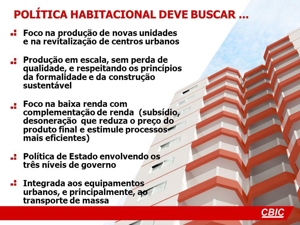Foco na produção de novas unidades e na revitalização de centros urbanos Produção em escala, sem perda de qualidade, e respeitando os princípios da fo