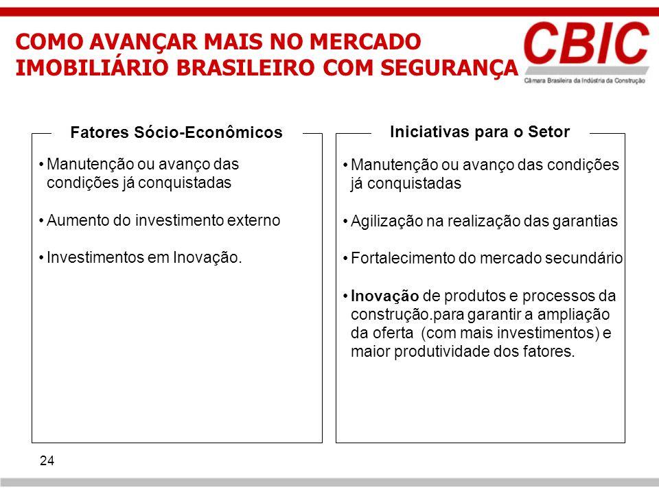 24 Fatores Sócio-Econômicos Iniciativas para o Setor Manutenção ou avanço das condições já conquistadas Agilização na realização das garantias Fortale