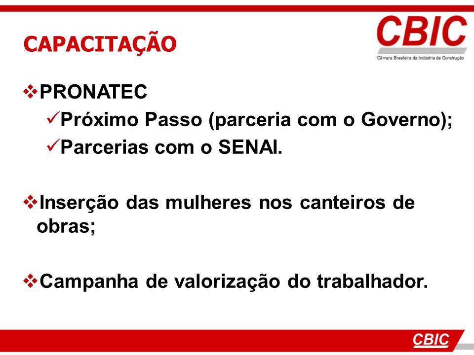 CAPACITAÇÃO PRONATEC Próximo Passo (parceria com o Governo); Parcerias com o SENAI. Inserção das mulheres nos canteiros de obras; Campanha de valoriza