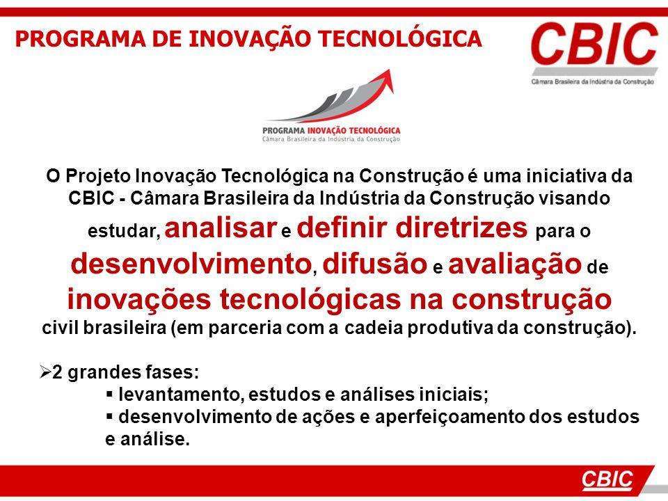 PROGRAMA DE INOVAÇÃO TECNOLÓGICA O Projeto Inovação Tecnológica na Construção é uma iniciativa da CBIC - Câmara Brasileira da Indústria da Construção