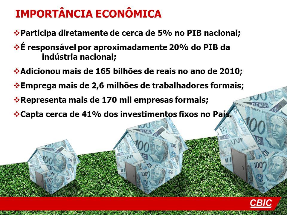 Participa diretamente de cerca de 5% no PIB nacional; É responsável por aproximadamente 20% do PIB da indústria nacional; Adicionou mais de 165 bilhõe