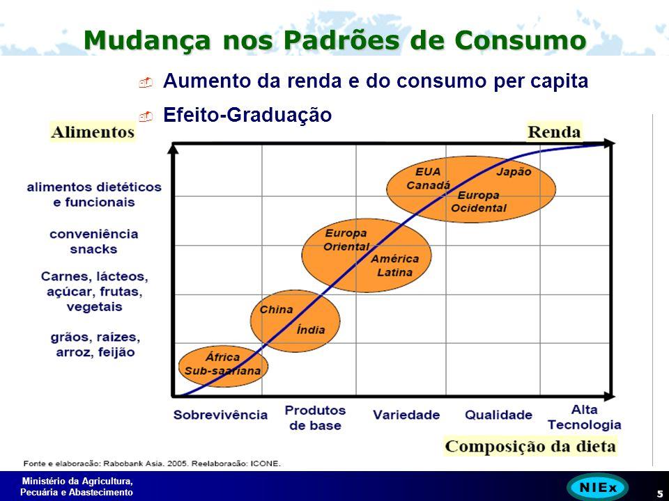 Ministério da Agricultura, Pecuária e Abastecimento 5 Mudança nos Padrões de Consumo Aumento da renda e do consumo per capita Efeito-Graduação