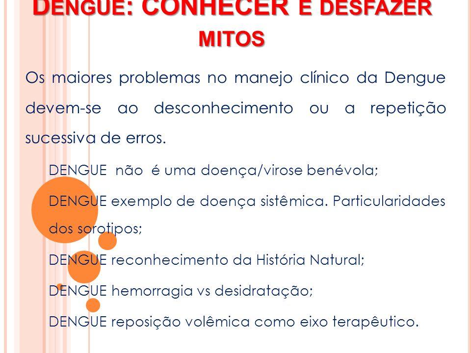 D ENGUE : CONHECER E DESFAZER MITOS Os maiores problemas no manejo clínico da Dengue devem-se ao desconhecimento ou a repetição sucessiva de erros. DE