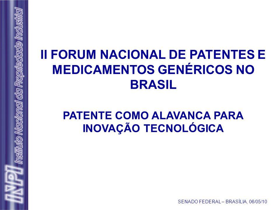II FORUM NACIONAL DE PATENTES E MEDICAMENTOS GENÉRICOS NO BRASIL PATENTE COMO ALAVANCA PARA INOVAÇÃO TECNOLÓGICA SENADO FEDERAL – BRASÍLIA, 06/05/10