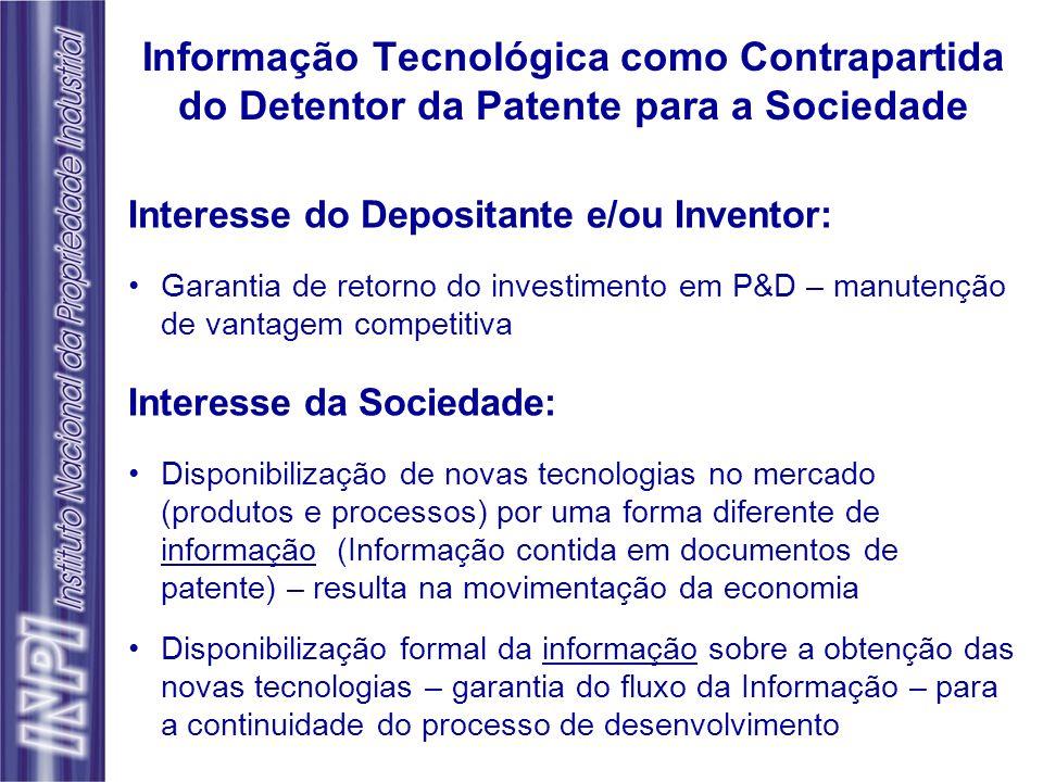 Informação Tecnológica como Contrapartida do Detentor da Patente para a Sociedade Interesse do Depositante e/ou Inventor: Garantia de retorno do inves