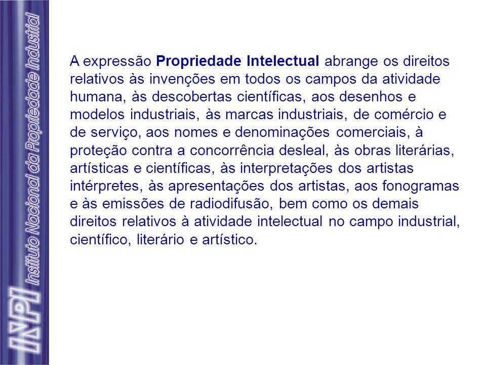 A expressão Propriedade Intelectual abrange os direitos relativos às invenções em todos os campos da atividade humana, às descobertas científicas, aos