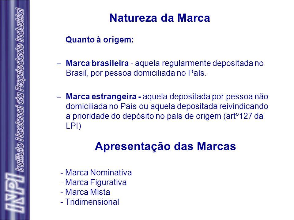 Natureza da Marca Quanto à origem: –Marca brasileira - aquela regularmente depositada no Brasil, por pessoa domiciliada no País. –Marca estrangeira -