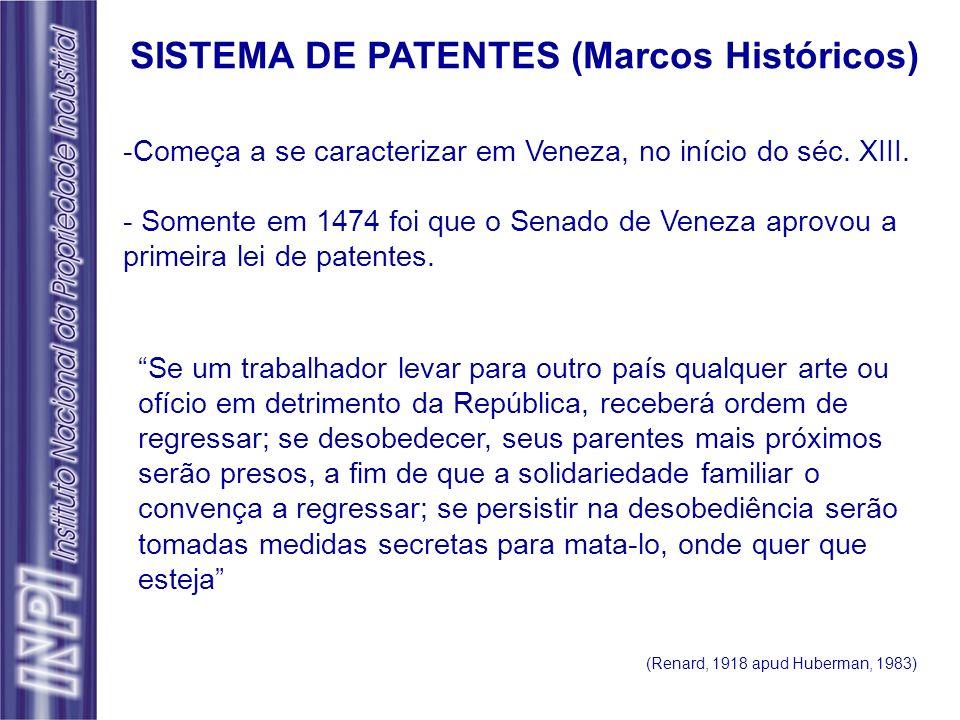 -Começa a se caracterizar em Veneza, no início do séc. XIII. - Somente em 1474 foi que o Senado de Veneza aprovou a primeira lei de patentes. SISTEMA
