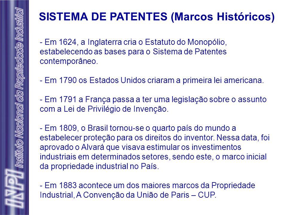 - Em 1624, a Inglaterra cria o Estatuto do Monopólio, estabelecendo as bases para o Sistema de Patentes contemporâneo. - Em 1790 os Estados Unidos cri