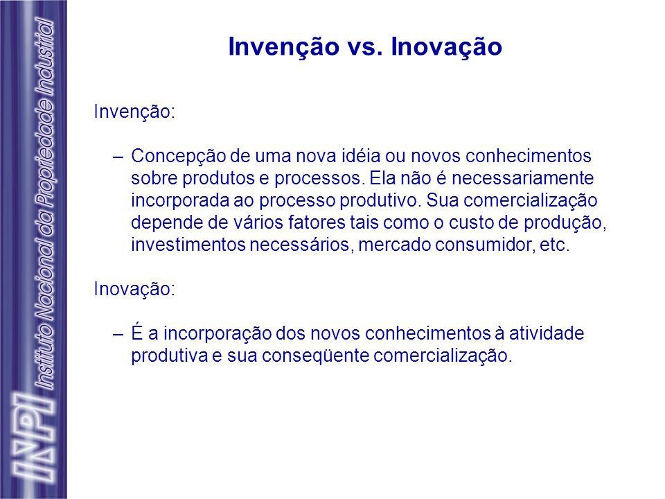 Invenção: –Concepção de uma nova idéia ou novos conhecimentos sobre produtos e processos. Ela não é necessariamente incorporada ao processo produtivo.
