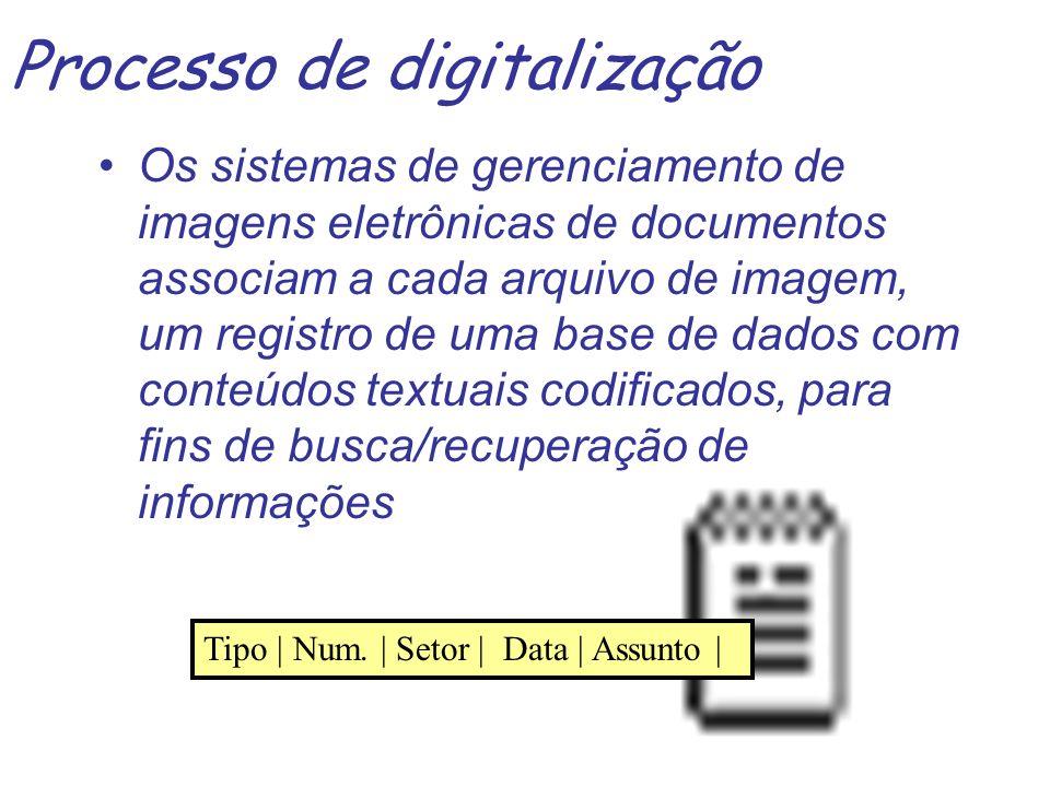 Processo de digitalização - hardware e software envolvidos Hardware –escaner: de mesa, com bandeja –gravador de CD-ROM –Jukebox: dispositivo leitor com capacidade de 8 a 48 CD-ROMs, geralmente com 4 a 8 cabeçotes de leitura