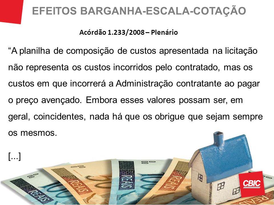 EFEITOS BARGANHA-ESCALA-COTAÇÃO A planilha de composição de custos apresentada na licitação não representa os custos incorridos pelo contratado, mas o