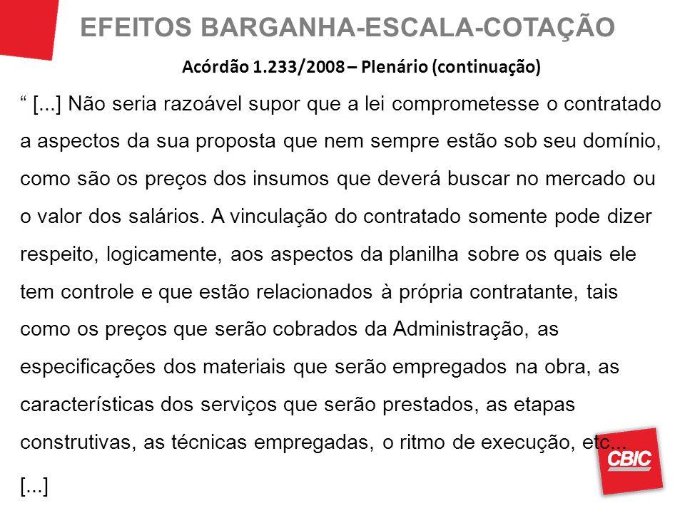 EFEITOS BARGANHA-ESCALA-COTAÇÃO [...] Não seria razoável supor que a lei comprometesse o contratado a aspectos da sua proposta que nem sempre estão so