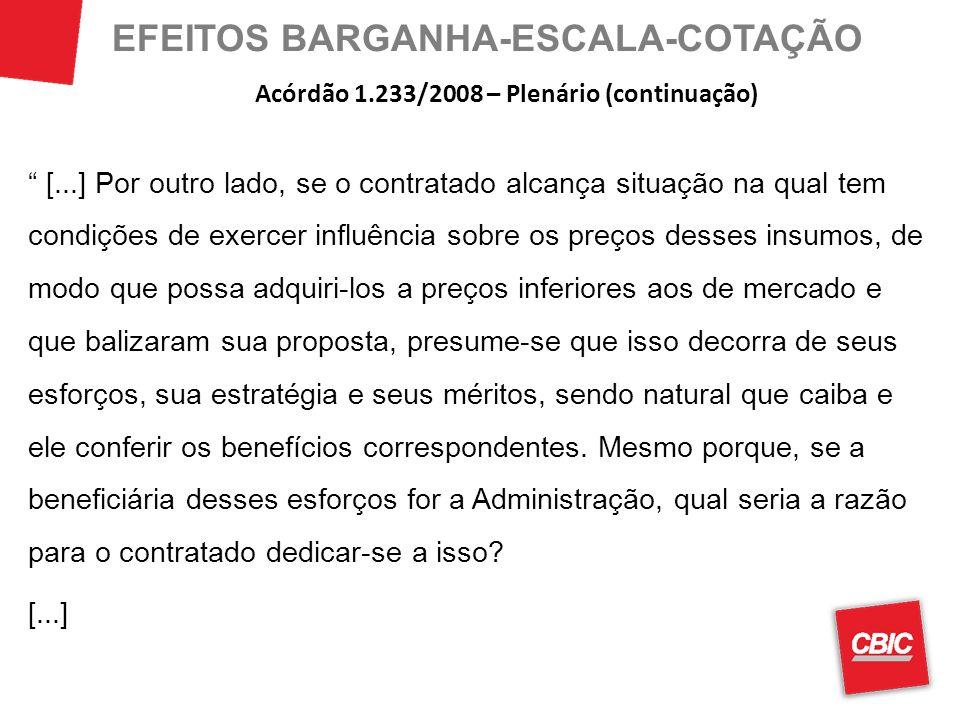 EFEITOS BARGANHA-ESCALA-COTAÇÃO [...] Por outro lado, se o contratado alcança situação na qual tem condições de exercer influência sobre os preços des