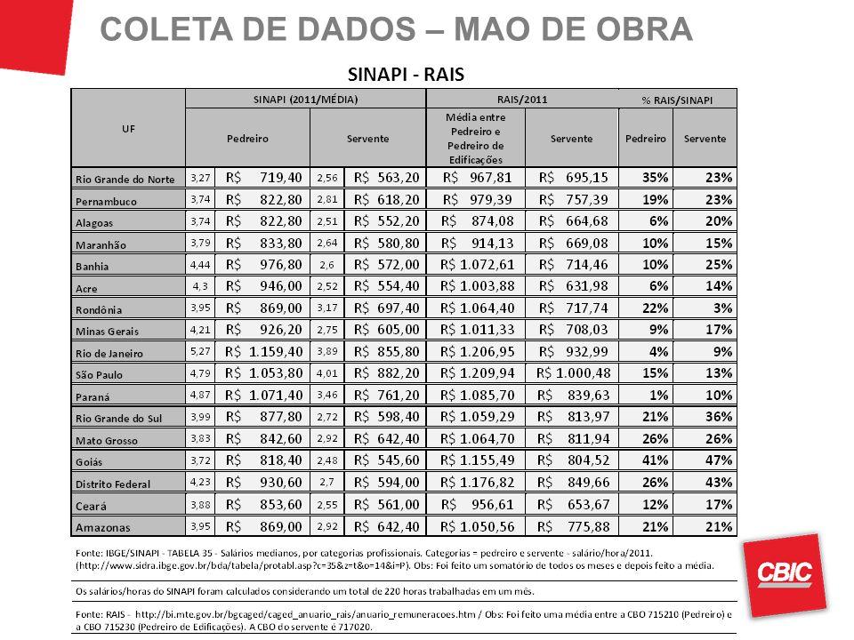 COLETA DE DADOS – MAO DE OBRA SINAPI - RAIS