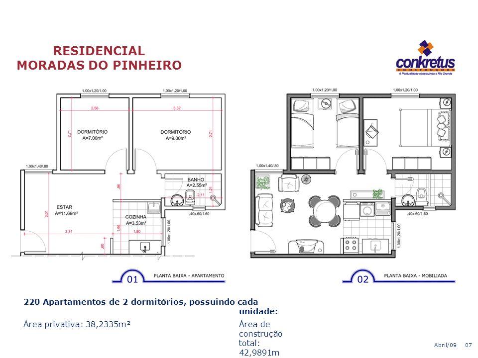 RESIDENCIAL MORADAS DO PINHEIRO Bloco Padrão – Pavimento T i p o Abril/09 06