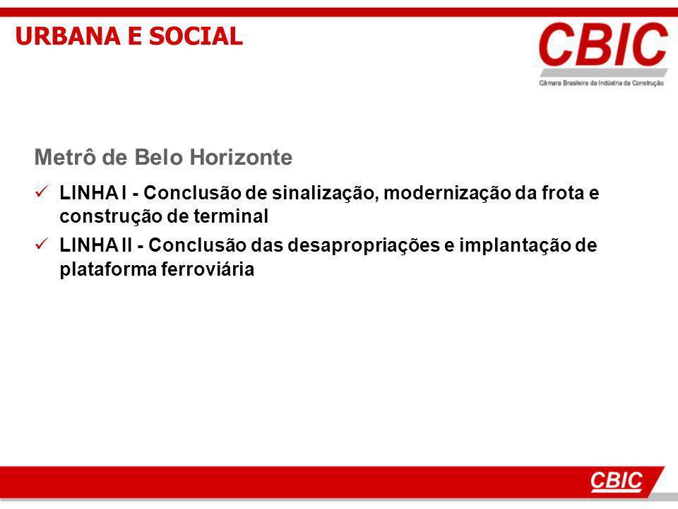 16 Metrô de Belo Horizonte LINHA I - Conclusão de sinalização, modernização da frota e construção de terminal LINHA II - Conclusão das desapropriações