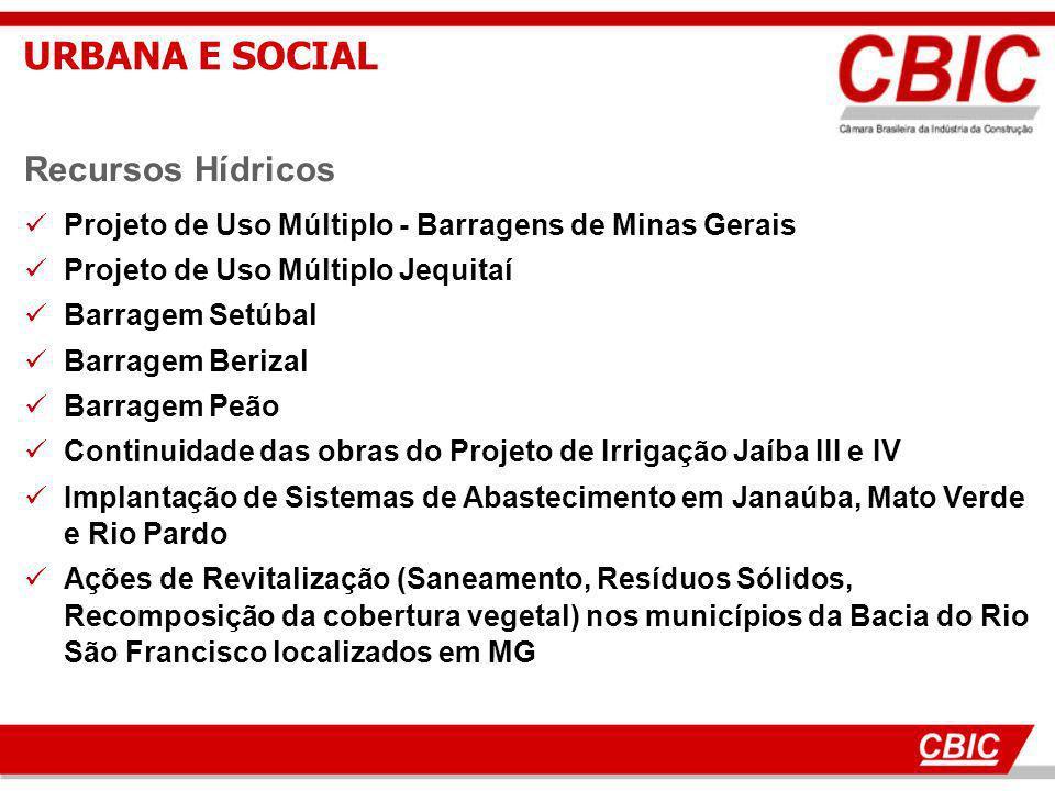 18 Recursos Hídricos Projeto de Uso Múltiplo - Barragens de Minas Gerais Projeto de Uso Múltiplo Jequitaí Barragem Setúbal Barragem Berizal Barragem P