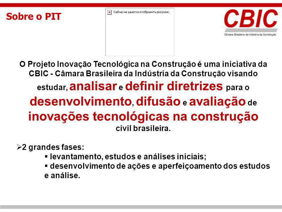 Sobre o PIT O Projeto Inovação Tecnológica na Construção é uma iniciativa da CBIC - Câmara Brasileira da Indústria da Construção visando estudar, anal
