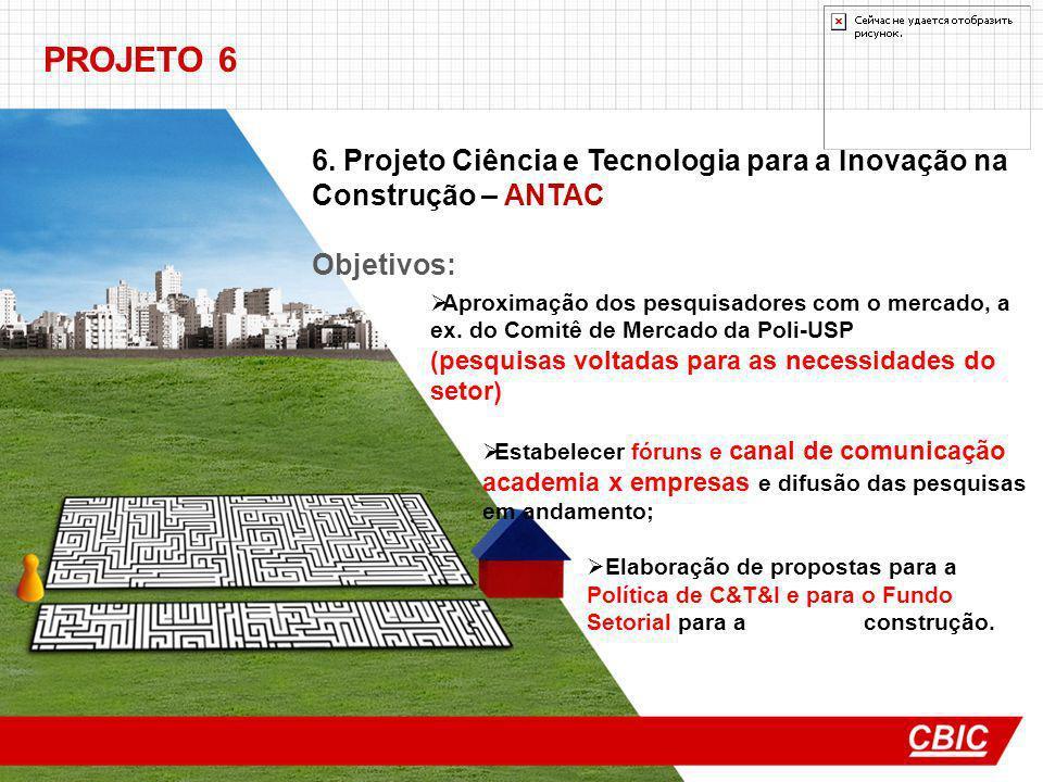 PROJETO 6 6. Projeto Ciência e Tecnologia para a Inovação na Construção – ANTAC Objetivos: Aproximação dos pesquisadores com o mercado, a ex. do Comit