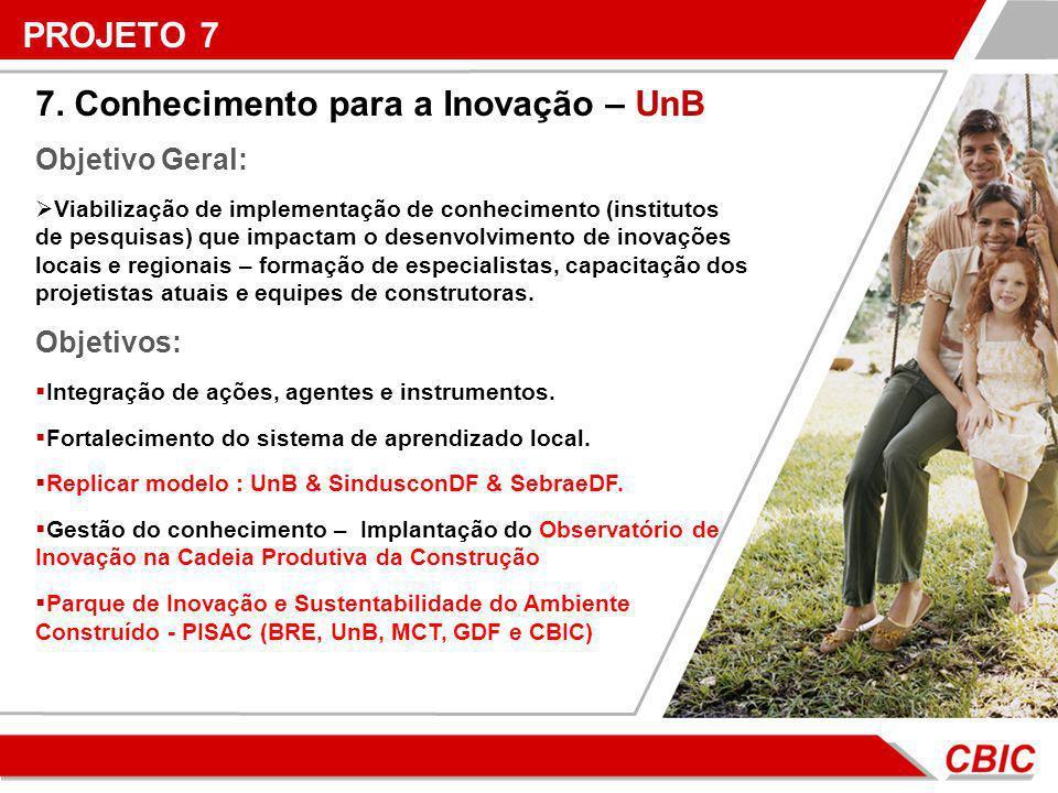 7. Conhecimento para a Inovação – UnB Objetivo Geral: Viabilização de implementação de conhecimento (institutos de pesquisas) que impactam o desenvolv